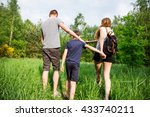 nature loving family makes walk ... | Shutterstock . vector #433740211