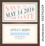 save the date card  back and... | Shutterstock .eps vector #433741429