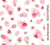 watercolor strawberries... | Shutterstock . vector #433743961