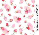 watercolor strawberries...   Shutterstock . vector #433743961