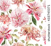 watercolor pattern with peony... | Shutterstock . vector #433745371