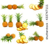 collage of whole and slice mini ... | Shutterstock . vector #433747111