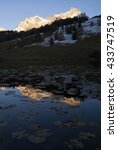 Small photo of Alpenglow at sunset above lake Tarasp in the Swiss canton Graubunden