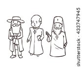 priests set. hand drawn cartoon ... | Shutterstock .eps vector #433747945