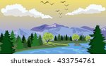 beauty landscape with lake and...   Shutterstock .eps vector #433754761