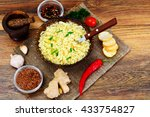 tasty chicken soup with chinese ... | Shutterstock . vector #433754827