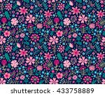 cute pattern in small flower.... | Shutterstock .eps vector #433758889