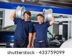technicians carrying metallic... | Shutterstock . vector #433759099