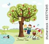 kids swinging on a tree  summer ...   Shutterstock .eps vector #433774345