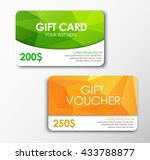 green  card and orange gift... | Shutterstock .eps vector #433788877