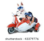 Stock photo two chihuahuas in a scooter and sidecar 43379776