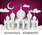 the mosque and the sky at night ... | Shutterstock .eps vector #433806439