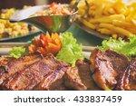 brazilian picanha steak with... | Shutterstock . vector #433837459