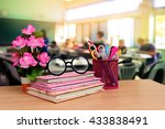 books and office tools with... | Shutterstock . vector #433838491