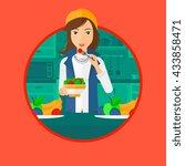 woman eating healthy vegetable... | Shutterstock .eps vector #433858471