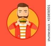hipster man with the beard... | Shutterstock .eps vector #433858501