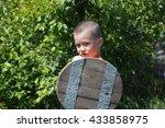 young warrior with buckler  ... | Shutterstock . vector #433858975
