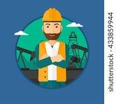 a hipster oil worker in uniform ...   Shutterstock .eps vector #433859944