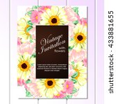 invitation with floral... | Shutterstock . vector #433881655
