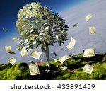 Money Tree On Grass With...