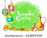 traditional eastern halal food. ... | Shutterstock .eps vector #433892539