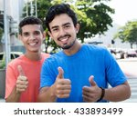 two hispanic guys showing... | Shutterstock . vector #433893499