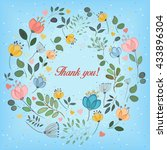 watercolor flowers. floral ring.... | Shutterstock .eps vector #433896304