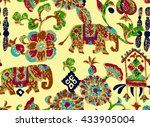 indian floral  seamless pattern | Shutterstock .eps vector #433905004