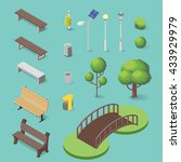 vector set of isometric park... | Shutterstock .eps vector #433929979