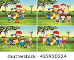 children playing in the park... | Shutterstock .eps vector #433930324