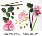 colorful composition with roses ... | Shutterstock . vector #433943059