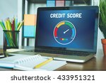 computer with credit score...   Shutterstock . vector #433951321