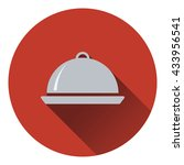 restaurant  cloche icon. flat...