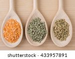 three kinds of lentil on spoons | Shutterstock . vector #433957891