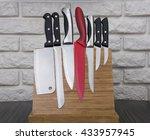 set of knives on wooden... | Shutterstock . vector #433957945