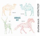 low poly vector animals set ... | Shutterstock .eps vector #433967029