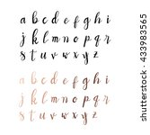 hand drawn calligraphic font.... | Shutterstock .eps vector #433983565