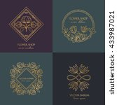 vector flower shop gold  logo... | Shutterstock .eps vector #433987021