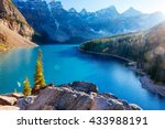 moraine lake is a glacially fed ... | Shutterstock . vector #433988191