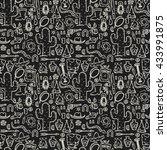 wild west pattern in doodle... | Shutterstock .eps vector #433991875