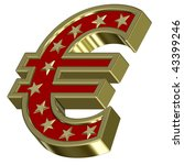 Gold-red Euro sign with stars isolated on white. Computer generated 3D photo rendering. - stock photo
