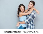 casual young couple hugging... | Shutterstock . vector #433992571