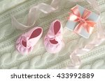 baby booties on knitted plaid ... | Shutterstock . vector #433992889