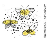 set of butterfly. hand drawn... | Shutterstock .eps vector #434002939