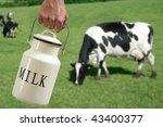 Milk Pot Urn On Farmer Hand...