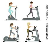 set of girls with cardio... | Shutterstock .eps vector #434010109