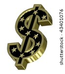 Gold-black Dollar sign with stars isolated on white. Computer generated 3D photo rendering. - stock photo