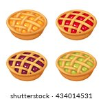 vector set of four fruit and... | Shutterstock .eps vector #434014531