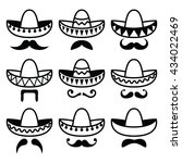 mexican sombrero hat with... | Shutterstock .eps vector #434022469