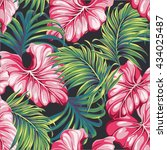 tropical leaves vector seamless ... | Shutterstock .eps vector #434025487